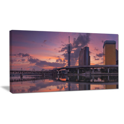 Designart Tokyo Sky Tree And Sumida River Landscape Canvas Art Print