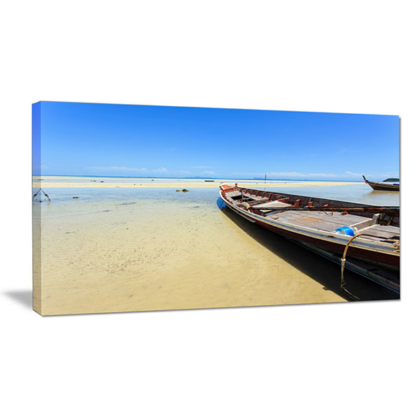 Designart Traditional Thai Boat On Beach SeashoreCanvas Art Print