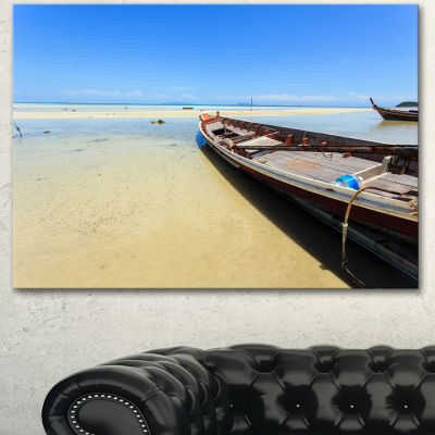 Designart Traditional Thai Boat On Beach SeashoreCanvas Art Print - 3 Panels