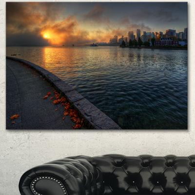 Designart Tranquil Vancouver Downtown View ExtraLarge Landscape Canvas Art Print