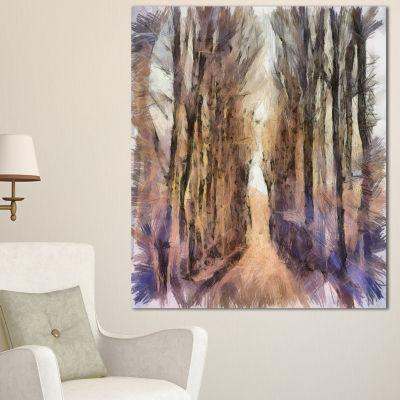 Designart Trees And Road Nature Watercolor Landscape Canvas Wall Art - 3 Panels