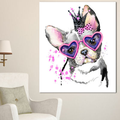 Design Art Sweet Funny Dog With Glasses Animal Canvas Wall Art