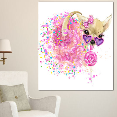 Designart Sweet Pink Dog With Glasses Animal Canvas Wall Art