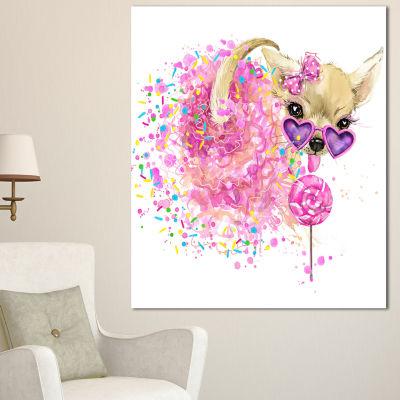 Designart Sweet Pink Dog With Glasses Animal Canvas Wall Art - 3 Panels