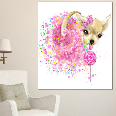 Designart Sweet Pink Dog Without Glasses Animal Canvas Wall Art - 3 Panels