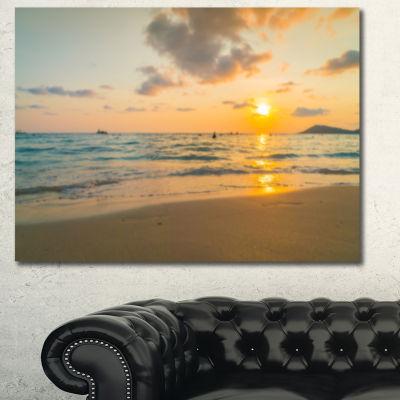 Design Art Stylish Blur Sunset Over The Sea Seashore Wall Art On Canvas - 3 Panels