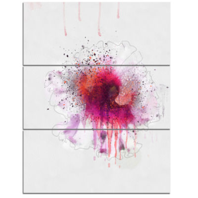 Designart Stylish Pink Watercolor Flower Floral Canvas Art Print - 3 Panels