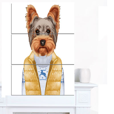 Designart Terrier In Down Vest And Sweater AnimalCanvas Art Print - 3 Panels