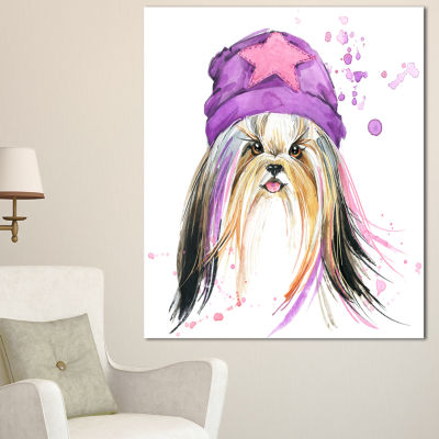 Designart Stylish Puppy With Purple Hat Animal Canvas Wall Art - 3 Panels