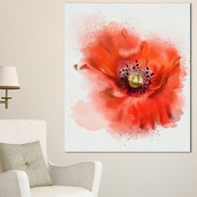 Designart Stylish Red Watercolor Poppy Flower Floral Canvas Art Print
