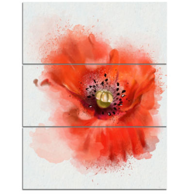 Designart Stylish Red Watercolor Poppy Flower Floral Canvas Art Print - 3 Panels