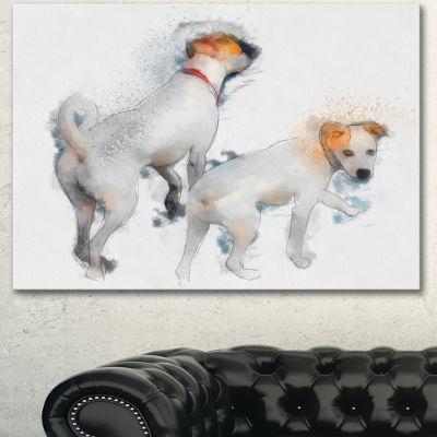 Designart Stylish White Dogs Walking Oversized Animal Wall Art