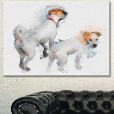 Designart Stylish White Dogs Walking Oversized Animal Wall Art