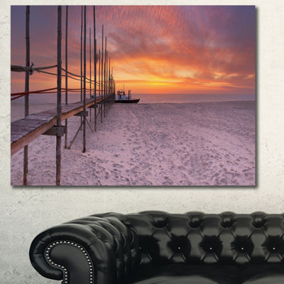 Designart Texel Island Seaside Jetty Panorama Modern Seashore Canvas Wall Art - 3 Panels