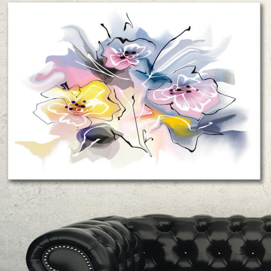 Designart Textured Floral Drawing Extra Large Floral Wall Art