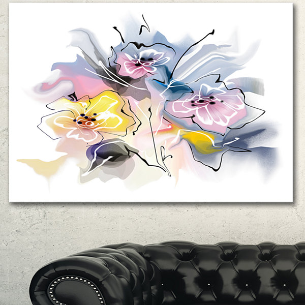 Designart Textured Floral Drawing Extra Large Floral Wall Art - 3 Panels