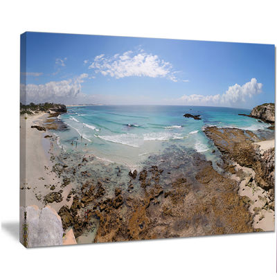 Designart The Rocks And Beach Panorama Seashore Canvas Art Print