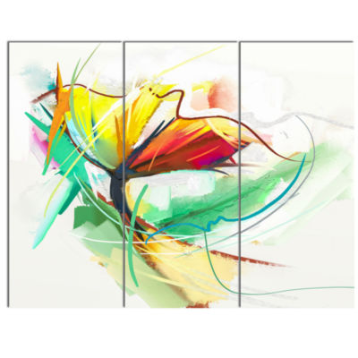 Designart Still Life Of Yellow Red Color Flower Large Floral Canvas Art Print - 3 Panels