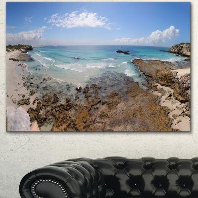 Designart The Rocks And Beach Panorama Seashore Canvas Art Print - 3 Panels