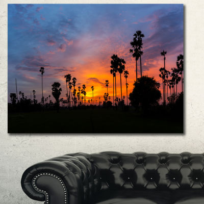 Design Art Sugar Palm Tree Silhouette Landscape Canvas Art Print - 3 Panels