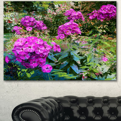 Design Art Theme With Pink Flowers And Green Floral Art Canvas Print