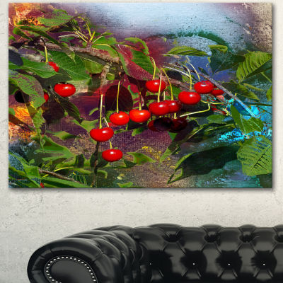 Designart Summer And Cherries Watercolor Floral Art Canvas Print