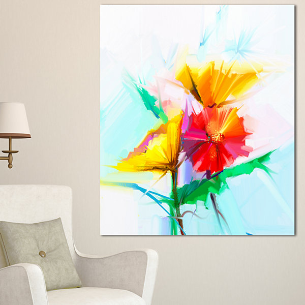 Design Art Still Life Yellow Red Gerbera Flower Large Floral Canvas Art Print