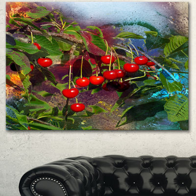 Designart Summer And Cherries Watercolor Floral Art Canvas Print - 3 Panels