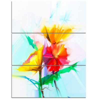 Designart Still Life Yellow Red Gerbera Flower Large Floral Canvas Art Print - 3 Panels