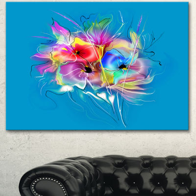Design Art Summer Colorful Flowers On Blue Extra Large Floral Wall Art