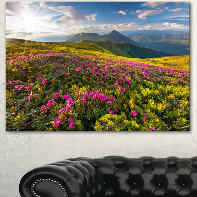 Designart Summer Day Rhododendron Flowers Landscape Canvas Art Print - 3 Panels