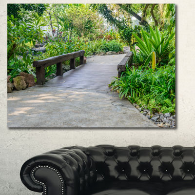 Design Art Stone Pathway Into Garden Landscape Canvas Art Print - 3 Panels