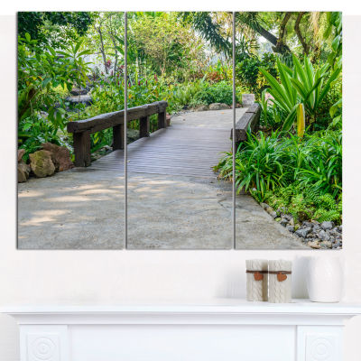 Designart Stone Pathway Into Garden Landscape Canvas Art Print - 3 Panels