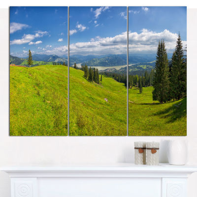 Designart Summer In Ceahlau Mountains Landscape Canvas Art Print - 3 Panels
