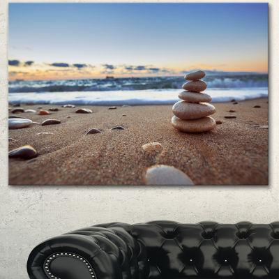 Designart Stones Balance On Sandy Beach SeashoreCanvas Art Print
