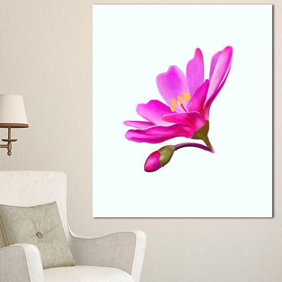 Designart Summer Pink Flower Watercolor Floral Canvas Art Print 3 Panels