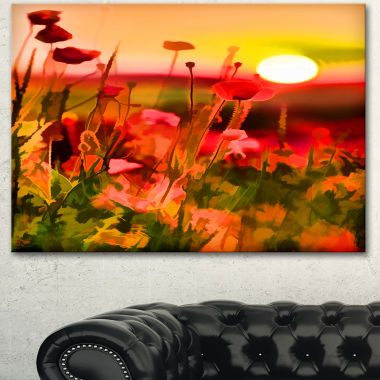 Designart Summer Sunset With Red Poppies Large Landscape Canvas Art Print