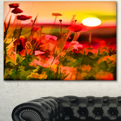 Designart Summer Sunset With Red Poppies Large Landscape Canvas Art Print - 3 Panels