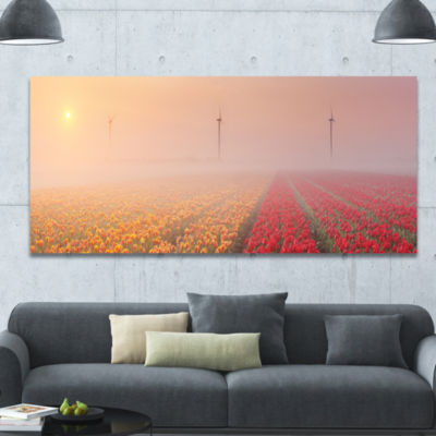 Designart Sun Over Blooming Lake Panorama Landscape Canvas Art Print