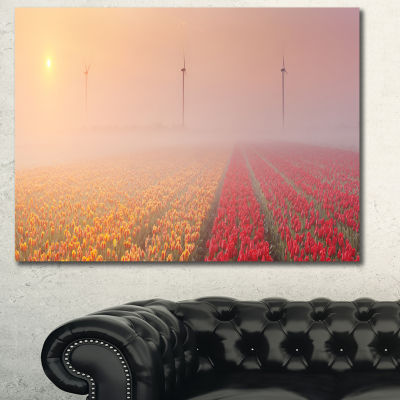 Designart Sun Over Blooming Lake Panorama Landscape Canvas Art Print - 3 Panels