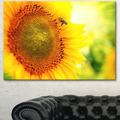 Designart Sunflower Blooming On Field Large AnimalCanvas Art Print