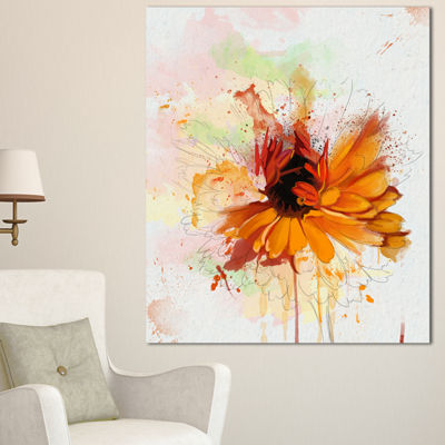 Designart Sunflower Drawing With Paint Splashes Floral Canvas Art Print