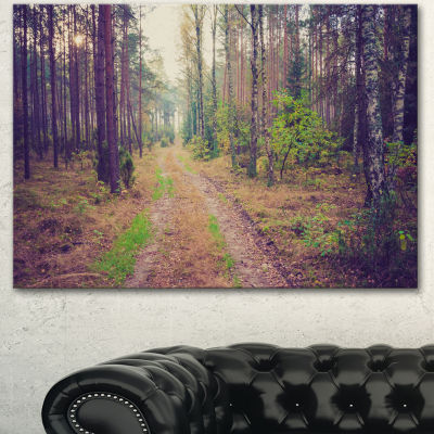 Design Art Straight Pathway In Thick Forest ModernForest Canvas Art - 3 Panels