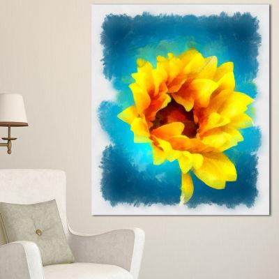 Designart Sunflower On Blue Watercolor Floral Canvas Art Print