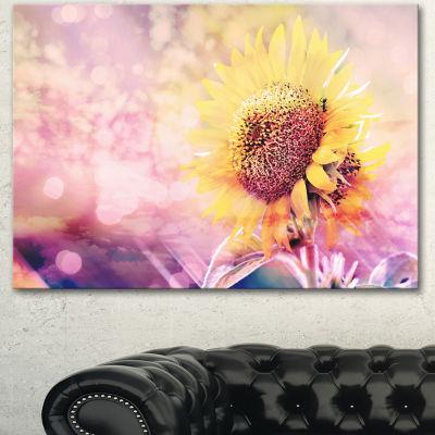 Design Art Sunflower With Rainbow Light Effect Floral Canvas Art Print - 3 Panels