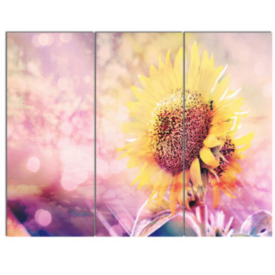 Designart Sunflower With Rainbow Light Effect Floral Canvas Art Print - 3 Panels