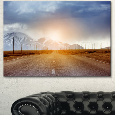 Designart Straight Road Under Blue Sky Large Landscape Canvas Art