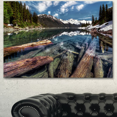 Designart Sunken Logs N Mountain Lake Extra LargeLandscape Canvas Art Print