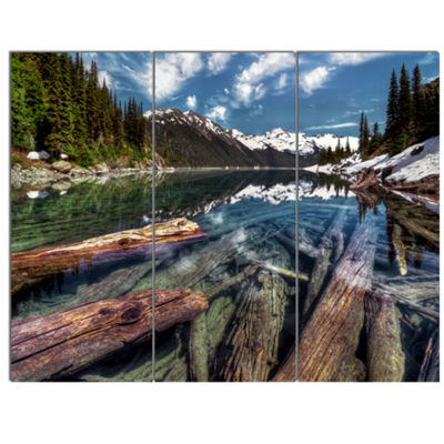 Designart Sunken Logs N Mountain Lake Extra LargeLandscape Canvas Art Print - 3 Panels