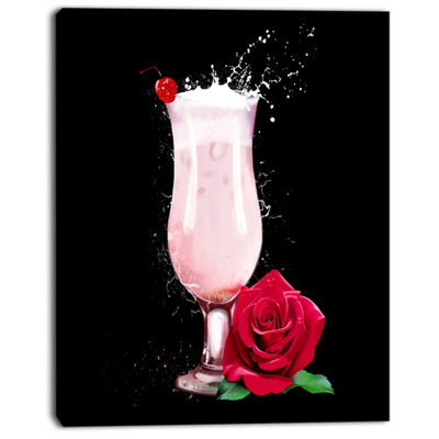 Designart Strawberry Cocktail And Red Rose FloralCanvas Art Print